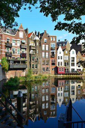 rotterdam: ROTTERDAM - SEPTEMBER 18: Historic houses along river Nieuwe Maas at Delfshaven, a borough of Rotterdam, taken on September 18, 2014 in Rotterdam, Netherlands