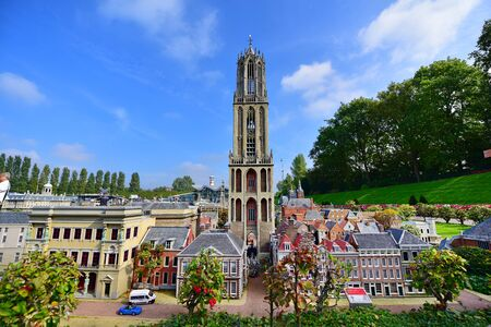 minature: HAGUE - SEPTEMBER 19: Scaled replica of Dom Tower at Madurodam minature park, taken on September 19, 2014 in Hague, Netherlands