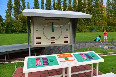 minature: HAGUE - SEPTEMBER 19: Replica of flower auction clock at Madurodam minature park, taken on September 19, 2014 in Hague, Netherlands Editorial