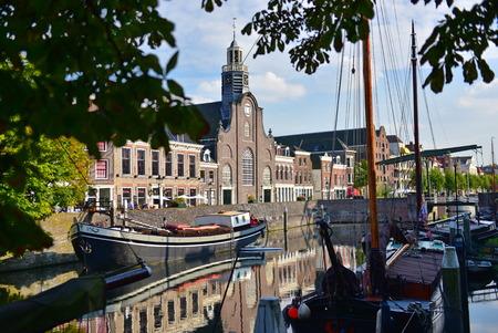 maas: ROTTERDAM - SEPTEMBER 18: Pilgrim Fathers Church along River Nieuwe Maas at Delfshaven, taken on September 18, 2014 in Rotterdam, Netherlands Editorial