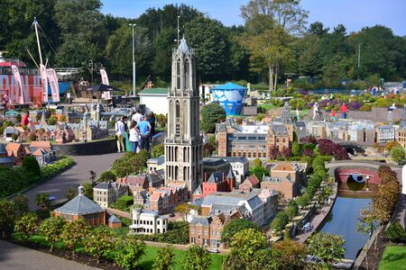 replica: HAGUE - SEPTEMBER 19: Scaled replica of Dom Tower at Madurodam minature park, taken on September 19, 2014 in Hague, Netherlands