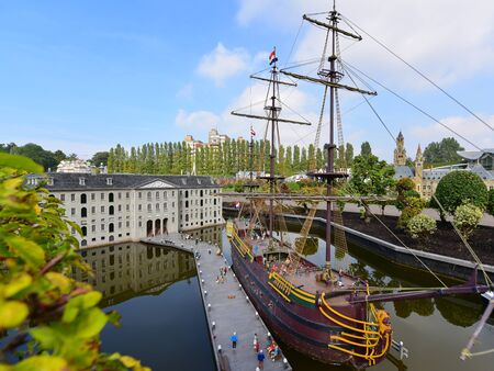 minature: HAGUE - SEPTEMBER 19: Scaled replica of The Amsterdam (VOC ship), an 18th century cargo ship, taken on September 19, 2014 in Hague, Netherlands