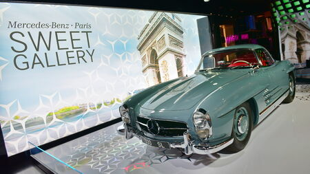 champ: PARIS - SEPTEMBER 24: 300 SL classic car on display at the Mercedes Benz gallery along Champ Elysees, taken on September 24, 2014 in Paris, France