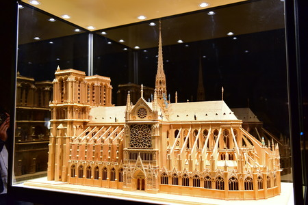 scaled: PARIS - SEPTEMBER 24: Scaled replica of the famous Notre Dame de Paris cathedral, taken on September 24, 2014 in Paris, France