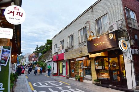 SEOUL - OCTOBER 5: Shops and restaurants at Bukchon Hanok Village, a Korean traditional village, taken on October 5, 2014 in Seoul, South Korea