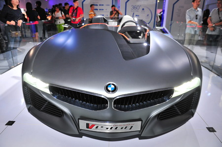 twoseater: SINGAPORE - AUGUST 2: BMW Vision ConnectedDrive two-seater sports car concept on display at BMW World 2014, taken on August 2, 2014 in Singapore