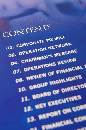 annual report: Contents in annual report