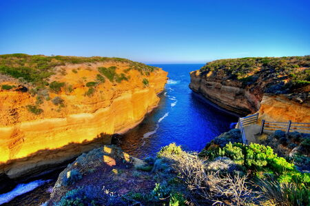 hdr: HDR of cliffs and bay