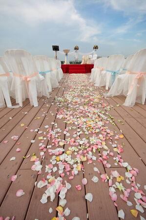 venue: Beautifully decorated outdoor wedding venue
