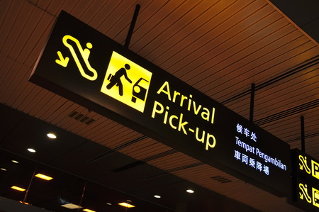 Arrival and pick-up signboard in airport