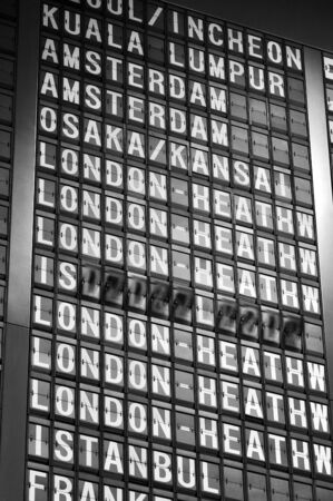 destinations: Signboard in airport showing destinations