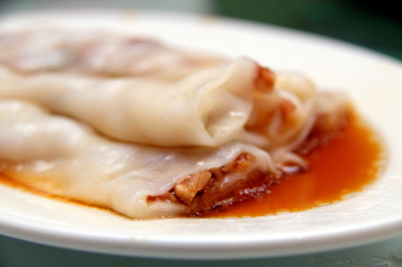 Chinese barbecue pork rice noodle roll