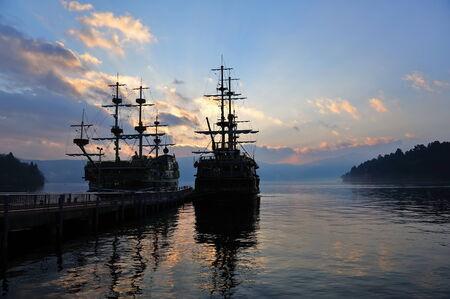 sight seeing: Pirate sight seeing ships on Lake Ashi in Hakone, Japan Stock Photo