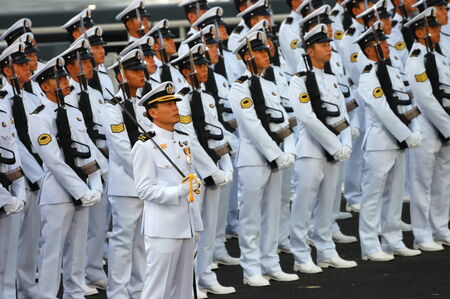 corporal: SINGAPORE - AUGUST 9: Navy Guard-of-Honor contingent during National Day Parade August 9, 2008 in Singapore Editorial