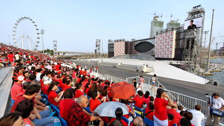 SINGAPORE - AUGUST 09: View of grand stand and stage at Singapore National Day Parade 2009 August 09, 2009 in Singapore Editorial