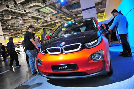 i3: SINGAPORE - AUGUST 2: BMW i3 urban electric car on display at BMW World 2014, taken on August 2, 2014 in Singapore Editorial
