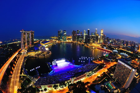 SINGAPORE - JULY 09: Aerial view of Singapore Marina Bay area with its financial and tourism district on July 09, 2011 in Singapore. Editorial