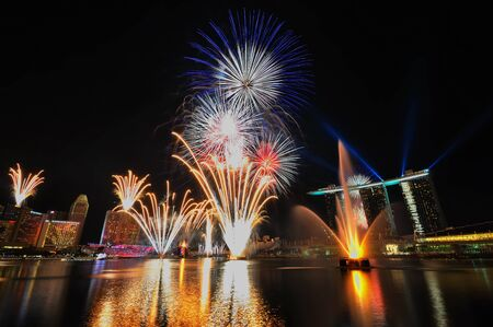 SINGAPORE - AUGUST 14: Fireworks during Singapore Youth Olympic Games (YOG) 2010 Opening Ceremony at Marina Bay August 14, 2010 in Singapore