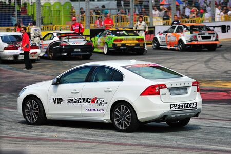 SINGAPORE - JUNE 12: Volvo S60 safety car at Formula Drift Singapore 2011 on June 12, 2011 in Singapore.