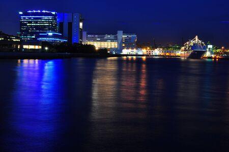 night scenery: Vibrant harbor center night scenery