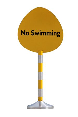 no swimming: No swimming sign against white background Stock Photo