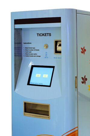 Blue color train ticketing machine Stock Photo