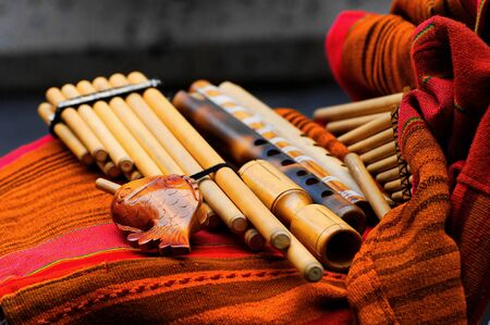 woodwind: Traditional woodwind instruments on display Stock Photo