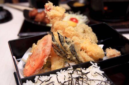 bento: Fried tempura bento set meal Stock Photo