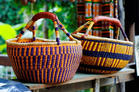 hand woven: Beautifully hand woven wicker baskets Stock Photo