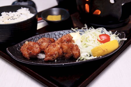 dinne: Japanese fried chicken bits with salad