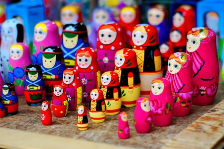 hand crafted: Rolls of colorful, hand crafted russian dolls Stock Photo