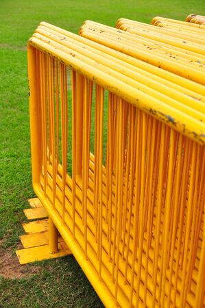 barriers: Yellow steel barriers Stock Photo
