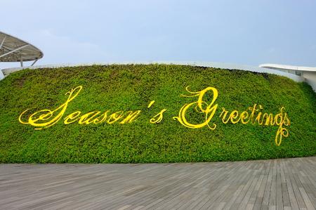cursive: Cursive Seasons greetings word against green background