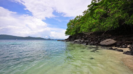 clear waters: Clear waters around Coral Island in Thailand, a popular tourist destination Stock Photo