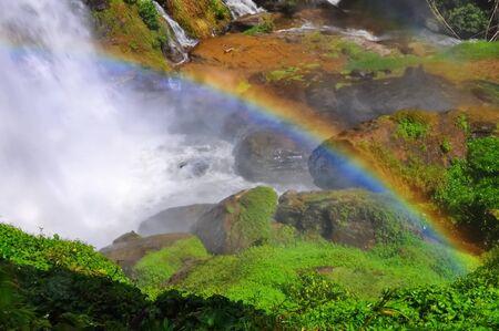 nat: Rainbow over Wachiratarn Waterfall in Doi Inthanon National Park, Thailand Stock Photo