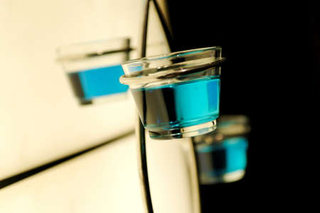 objec: Glass decor in hotel with cool blue liquid Stock Photo