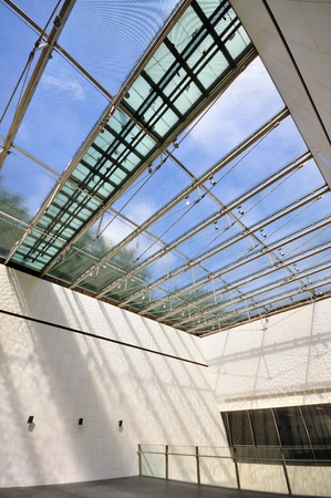 water feature: Modern interior with water feature glass ceiling Stock Photo