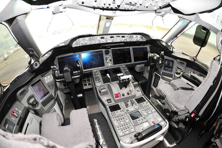 boeing: SINGAPORE - FEBRUARY 12: Cockpit of a Boeing 787 Dreamliner at Singapore Airshow February 12, 2012 in Singapore