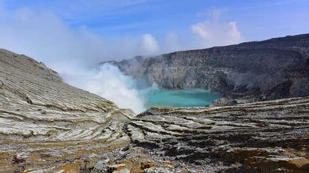 sulphur: Kawah Ijen volcanic crater emitting sulphuric gas still used for sulphur mining in East Java, Indonesia