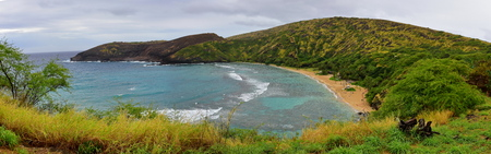 preserve: Panorama of Hanauma Bay Nature Preserve in Oahu, Hawaii