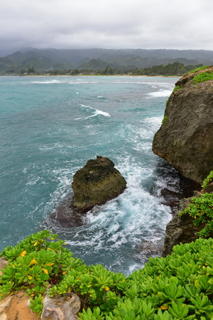 wayside: Rock formations and cliffs at Laie Point State Wayside Park in Oahu, Hawaii Stock Photo