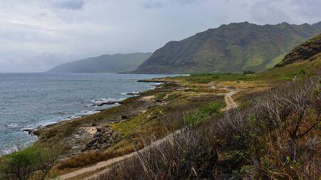 Coastline at Kaena Point State Park, west-most tip of Oahu, Hawaii Фото со стока