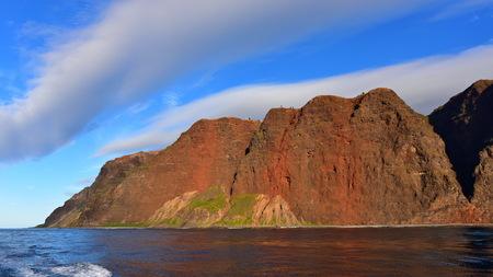 kauai: Cliffs along Na Pali Coast of Kauai Island, Hawaii Stock Photo