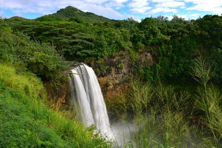 kauai: Magnificent Wailua Falls in Kauai, Hawaii Stock Photo