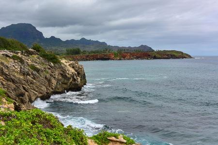 kauai: Beautiful coastline along Mahaulepu Heritage Trail in Kauai Island, Hawaii