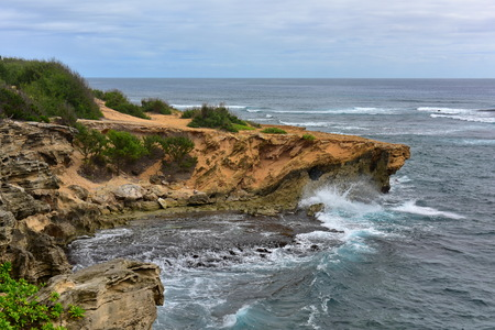heritage: Beautiful coastline along Mahaulepu Heritage Trail in Kauai Island, Hawaii