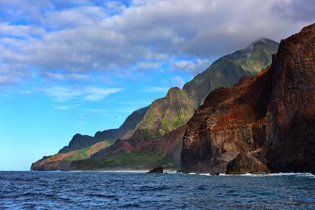 na: Cliffs along Na Pali Coast of Kauai Island, Hawaii Stock Photo