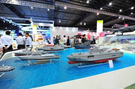 littoral: SINGAPORE - FEBRUARY 12: ST Marine showcasing its fleet of new generation offshore, fearless and littoral mission vessels at Singapore Airshow February 12, 2014 in Singapore