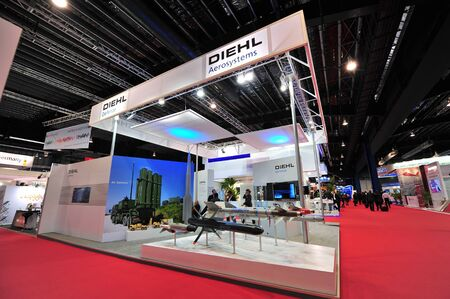 avionics: SINGAPORE - FEBRUARY 12: Diehl showcasing its defense and aerospace solutions at Singapore Airshow February 12, 2014 in Singapore