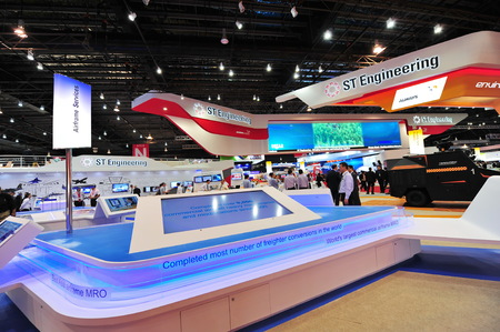 SINGAPORE - FEBRUARY 12: ST Aerospace showcasing its freighter conversion solutions at Singapore Airshow February 12, 2014 in Singapore Editorial